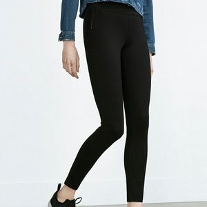 ZARA Side Zips Black Leggings